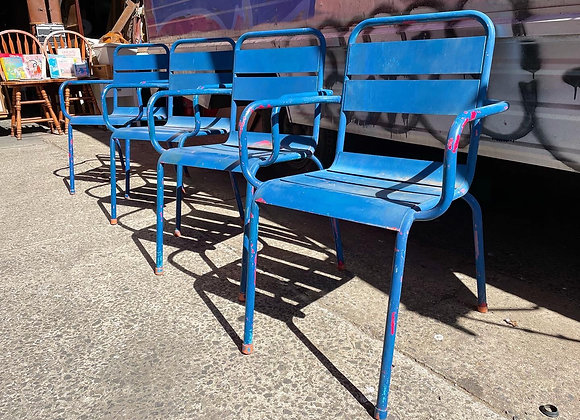 A Beautiful Set of 4 Blue Outdoor Steel Chairs