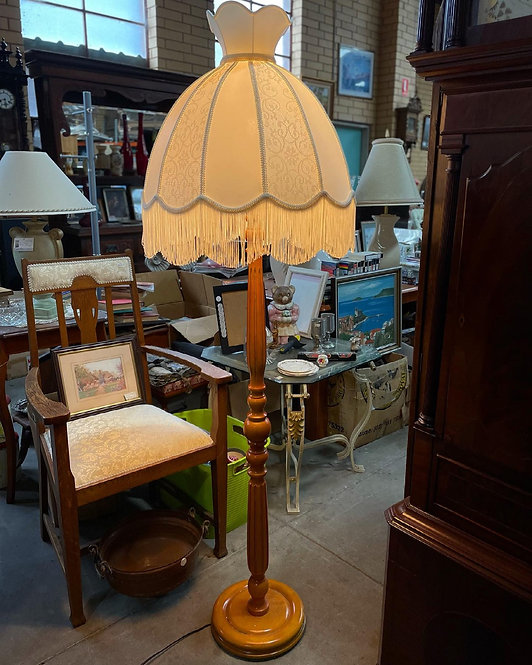 Vintage Standing Floor Lamp with Victorian Lamp Shade