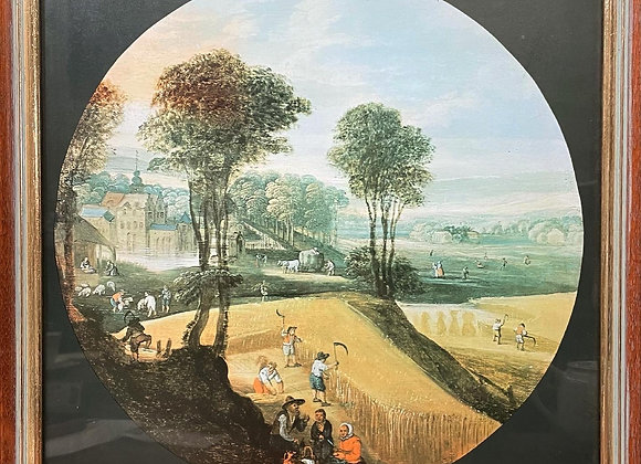 Framed Vintage Circular Pastoral Scene Print