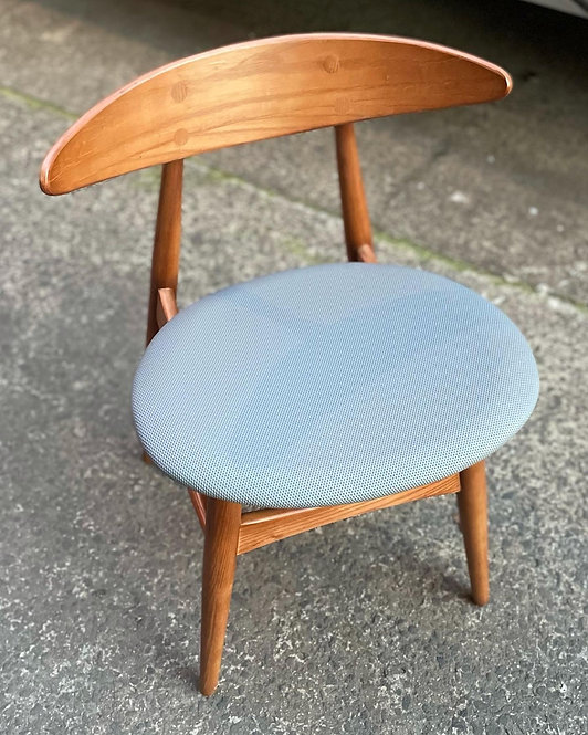 Solid Wooden Retro Mid-Century Dining Chair with Fabric Seat - $85