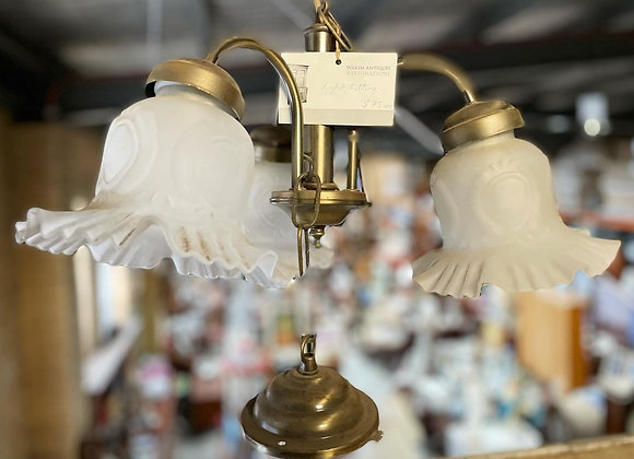 Vintage 3-Globe Brass Light Fitting in Good Condition