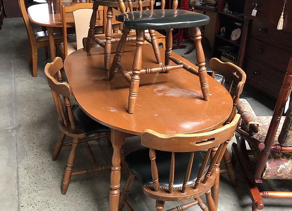 Beautiful Dining Set of 1 Table + 6 Wooden Upholstered Chairs