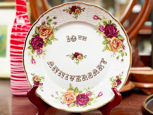 Vintage 10th Anniversary Decorative Fine China Porcelain Plate by 'Thun' (Czech