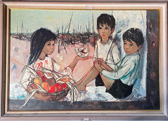 Beautiful Framed Painting of 3 Children Signed by Unknown Artist