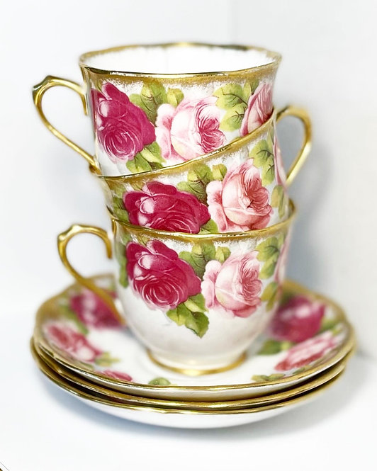 6-Piece Royal Albert Crown China Old English Rose Demitasse Set from C.1960s