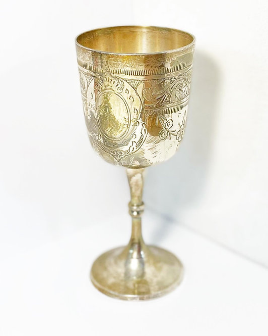 Stunning Vintage 5-Piece Set of EPSN Embossed Relief Goblets