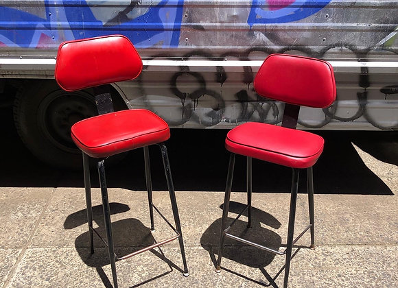A Pair of Retro Pedigree Counter Barstools with Upholstery