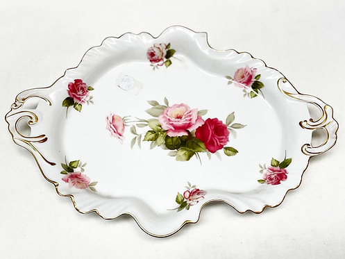 Pretty Vintage Serving Dish with Roses in Excellent Condition