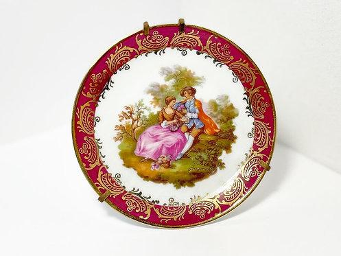 Collectible Vintage 'Limoges' Decorative Fragonard Design Porcelain Plate (Franc