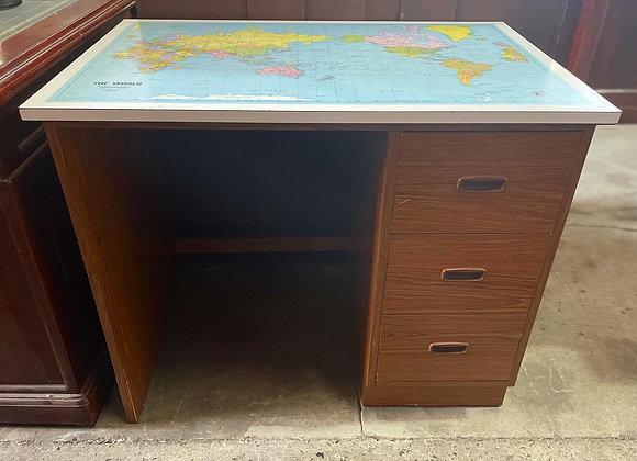 Beautiful Solid Retro Mid-Century World Map Desk