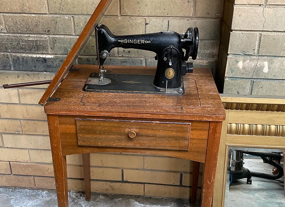 Vintage Singer Sewing Machine and Wooden Cabinet