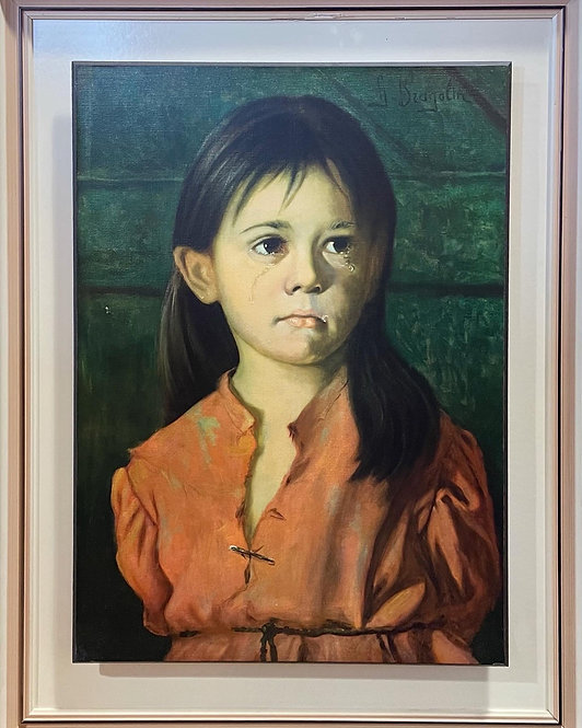 Print of Original Artwork of a Crying Child signed by G. Bragolin (Italy)