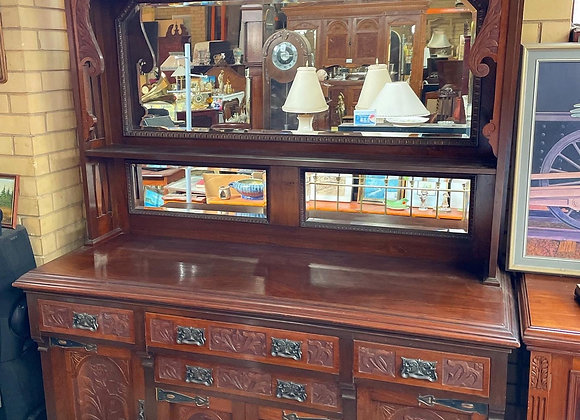 Stunning Hand-Carved Antique Blackwood Sideboard with Beveled Mirrors