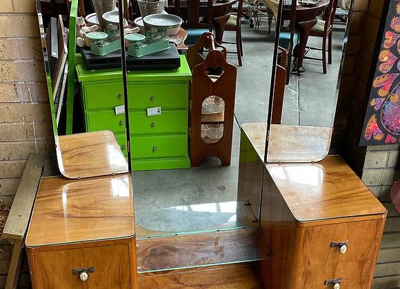 Beautiful Triple Mirror Art Deco Walnut Dressing Table  from C.1920's