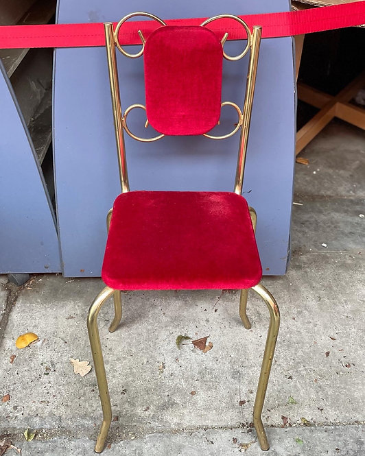 Pretty Vintage Gold Chrome & Red Upholstery Bedroom Chair