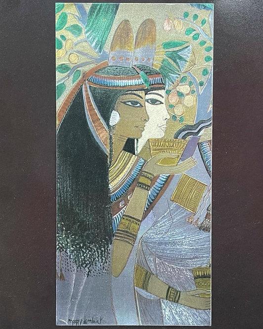 Vintage Framed Egyptian Theme Artwork with Original Artists Signature