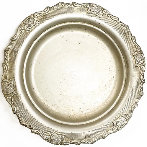 Superb Round Vintage Art Nouveau Style Silver Plated Floral Relief Tray