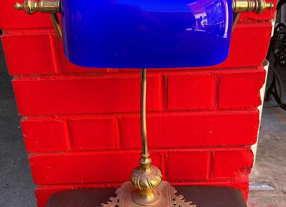 Beautiful Vintage Brass Base Navy Blue Shade Desk Lamp