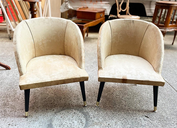 A Pair of Elegant Retro Bedroom Chairs with Floral Silk Upholstery