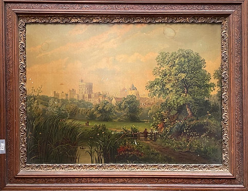 Vintage Print of Windsor Castle from the Thames with Ornate Frame