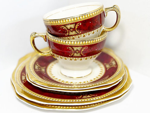 Vintage Pair of Collectible Burgundy 'Morley Ware' Porcelain Sets from C.1980's