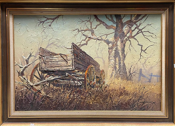 Original Vintage Framed Oil on Canvas Painting of an Old Farm Wagon
