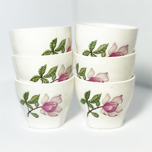 Gorgeous Vintage Set of 6 Small Oriental Teacups with Floral Ornaments