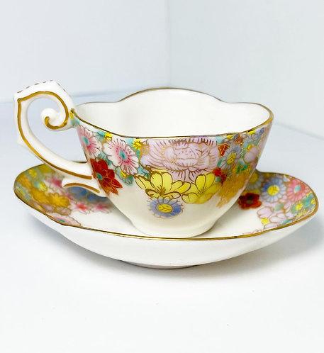 Unique Vintage Kutani China Kosem Hand-Painted Porcelain Cup & Saucer (Japan)