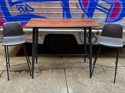 A Beautiful Set of Retro Modern Mid-Century Style High Dining Table & 2 Stools