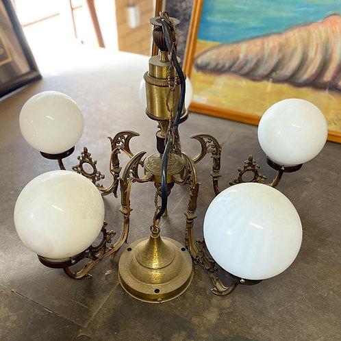 Gorgeous Ornate Victorian 5-Light Brass Pendant Chandelier