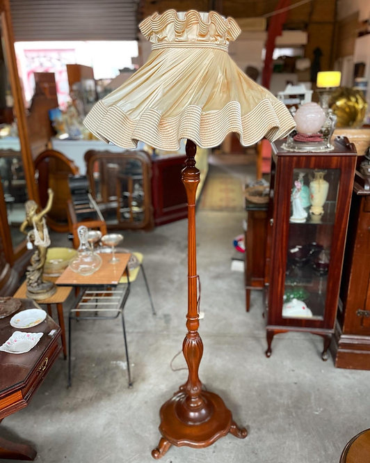 Vintage Floor Lamp with Blackwood base and Beautiful Shade