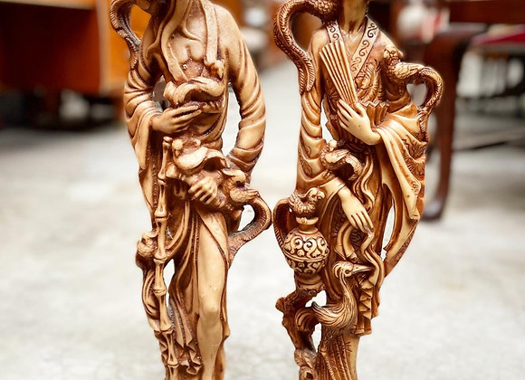 A Pair of Oriental Japanese Figural Resin Statues with Detailed Bird Motifs
