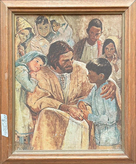 Religious Framed Print of Jesus and his Followers in Excellent Condition