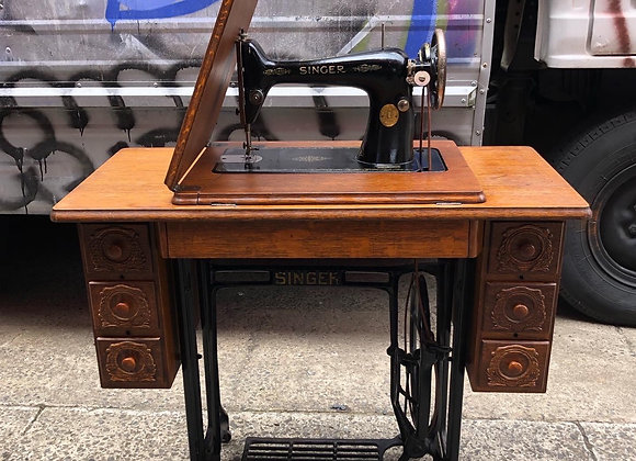 C.1939 Original Singer Sewing Machine with Ornate Oak Case
