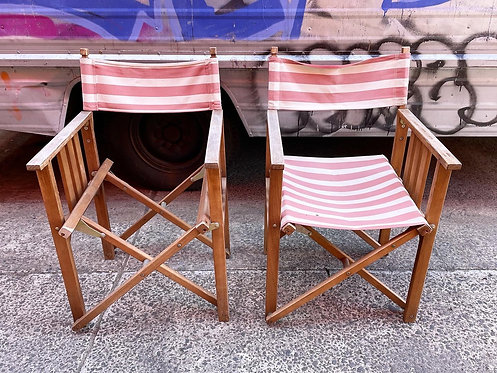 A Pair of Folding Retro Chairs (One of them missing the seat)