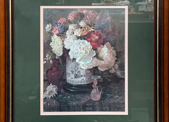 Beautiful Vintage Framed Print of Flowers by Unknown Artist