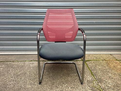 Super Comfortable Mid Century Modern Chrome Base & Mesh Cantilever Armchair
