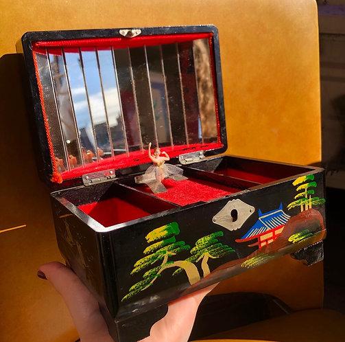 Large Vintage Japanese Musical Jewellery Box
