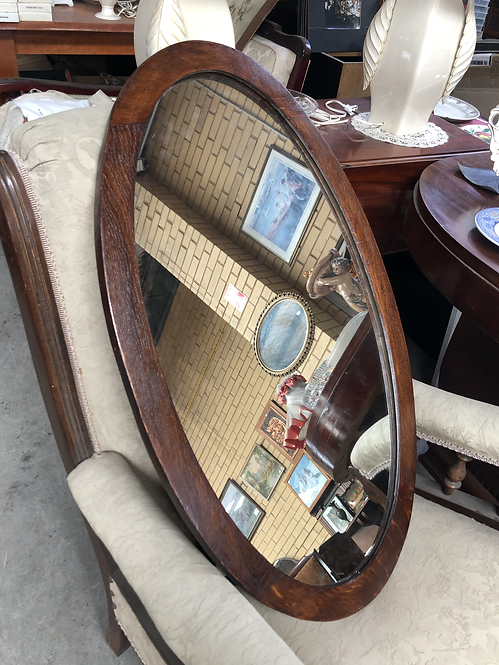 Stunning Vintage Oval Wooden Mirror
