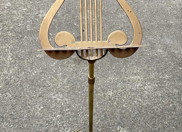 Unique Vintage Brass Lyre Harp Music Sheet Footed Stand