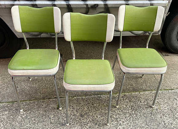 Impressive Set of 3 Original Mid-Century Retro Chairs with Upholstery