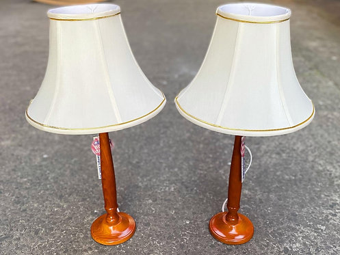 Pair of Wooden Retro Style G. Nelson Table Lamps in Mint Condition