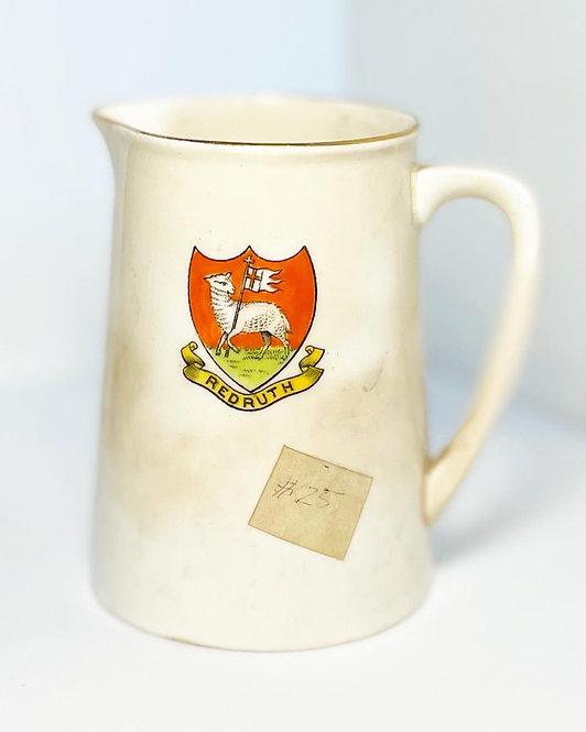 "Vintage Glazed Ceramic ""Redruth"" Picther/Milk Jug with British Manufacturer sign"