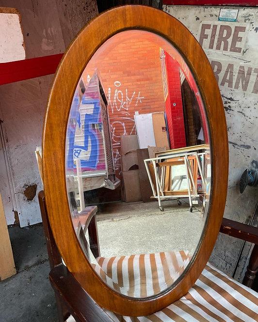 Stunning Beveled Antique Oak Mirror in Excellent Condition