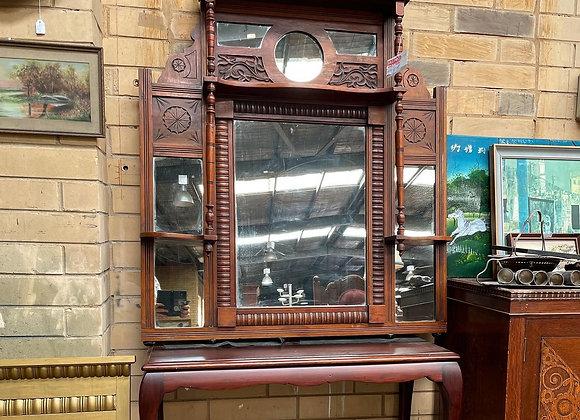 Stunning Antique Victorian Mahogany Overmantle Mirror