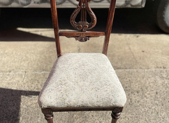 A Pair of Stunning Hand-Carved Antique Lyre Back Chairs With Upholstery