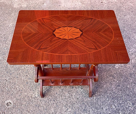 Impressive Vintage Occasional Table with Inlay & Barley Sugar Twist Legs