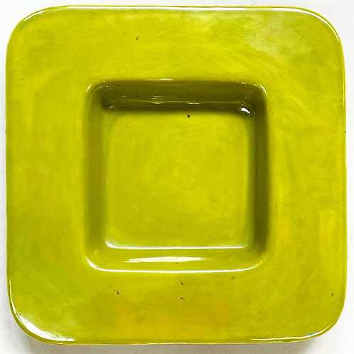 Unique Mid Century Modern Green Glazed Ceramic Bowl by Unknown Artist