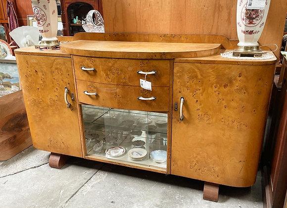 Rare Art Deco Birdseye Maple Buffet with Bar Inside from C.1920s