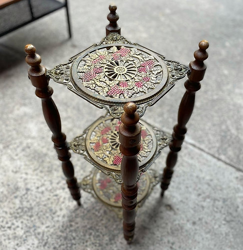 Impressive Cast Iron 3-Tier Pedestal with Wine Motifs